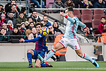 Sergi Roberto of FC Barcelona (L) fights for the ball with Hugo Mallo Novegil of RC Celta de Vigo (R) during the La Liga 2017-18 match between FC Barcelona and RC Celta de Vigo at Camp Nou Stadium on 02 December 2017 in Barcelona, Spain. Photo by Vicens Gimenez / Power Sport Images