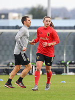 Physical coach Cedric Lehance  and Jody Vangheluwe pictured during the training session of the Belgian Women's National Team ahead of a friendly female soccer game between the national teams of Germany and Belgium , called the Red Flames in a pre - bid tournament called Three Nations One Goal with the national teams from Belgium , The Netherlands and Germany towards a bid for the hosting of the 2027 FIFA Women's World Cup ,on 19th of February 2021 at Proximus Basecamp. PHOTO: SEVIL OKTEM | SPORTPIX.BE