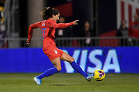 COLUMBUS, OH - NOVEMBER 07: Christen Press #23 of the United States takes a scoring shot on goal during a game between Sweden and USWNT at MAPFRE Stadium on November 07, 2019 in Columbus, Ohio.