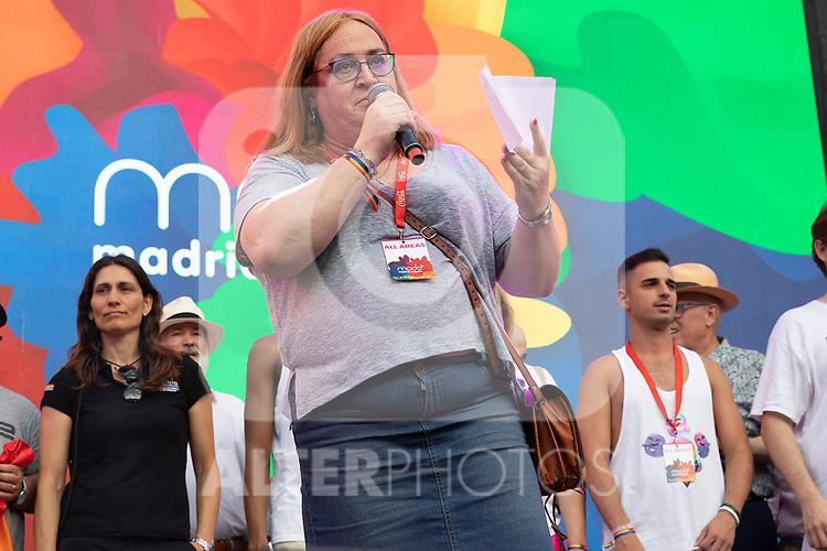 President of COGAM Carmen Garcia during the presentation of the lgtb pride party of Madrid. July 3, 2019. (ALTERPHOTOS/JOHANA HERNANDEZ)