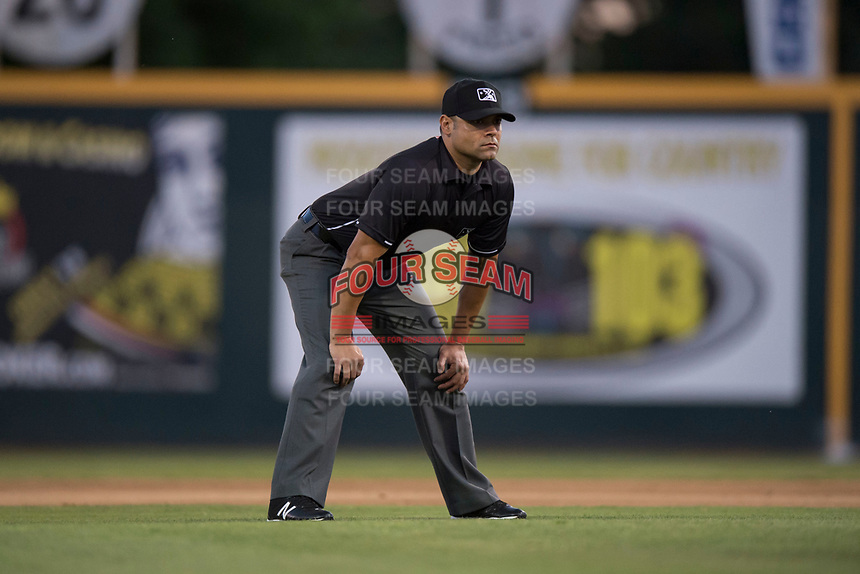 Field umpire Joe Gonzalez during a California League game between the Lake Elsinore Storm and the Modesto Nuts at John Thurman Field on May 12, 2018 in Modesto, California. Lake Elsinore defeated Modesto 4-1. (Zachary Lucy/Four Seam Images)