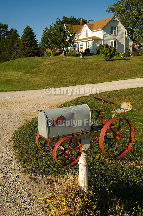 Tractor mail box (home made) along route 148 at the Louis Holste farm, Iowa.