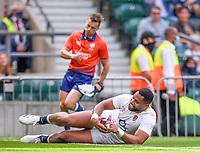4th July 2021; Twickenham, London, England; International Rugby, Autumn Internationals, England versus United States of America; Joe Cokanasiga of England crosses the line to score his try