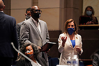 Philonise Floyd, brother of George Floyd, and Speaker Nancy Pelosi (D-Calif.) arrive for a House Judiciary Committee hearing to discuss police brutality and racial profiling on Wednesday, June 10, 2020.<br /> Credit: Greg Nash / Pool via CNP/AdMedia