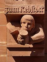 Detail an Hausfassade, Frankfurt, Hessen, Deutschland, Europa<br /> Detail house, Frankfurt, Hesse, Germany, Europe