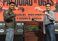 LAS VEGAS, NV - AUG 19:  Mark Magsayo and Julio Ceja at the undercard press conference at the MGM Grand Garden Arena on August 19, 2021 for the upcoming Fox Sports PBC pay-per-view fight in Las Vegas, Nevada. Pacquaio vs Ugas pay-per-view will be on August 21 at T-Mobile Arena in Las Vegas. (Photo by Scott Kirkland/Fox Sports/PictureGroup)