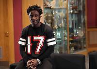 Friday 11 April 2014<br /> Pictured: Striker Wilfried Bony.<br /> Re: Swansea City FC press conference at the Liberty Stadium ahead of this Sunday's Barclay's Premier League game against Chelsea