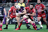 16th October 2020, Stade Maurice David, Aix-en-Provence, France;  Challenge Cup Rugby Final Bristol Bears versus RC Toulon;  Dave Attwood (Bristol Bears) tackled by Charles Ollivon (RC Toulon)