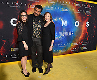 """LOS ANGELES - FEBRUARY 26: (L-R) National Geographic Global Television Networks President Courteney Monroe, astrophysicist Neil deGrasse Tyson and writer and director Ann Druyan attend National Geographic's 2020 Los Angeles premiere of """"Cosmos: Possible Worlds"""" at Royce Hall on February 26, 2020 in Los Angeles, California. Cosmos: Possible Worlds premieres Monday, March 9 at 8/7c on National Geographic. (Photo by Frank Micelotta/National Geographic/PictureGroup)"""