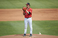 Kannapolis Intimidators starting pitcher Taylor Varnell (29) looks to his catcher for the sign against the Lexington Legends at Kannapolis Intimidators Stadium on May 15, 2019 in Kannapolis, North Carolina. The Legends defeated the Intimidators 4-2. (Brian Westerholt/Four Seam Images)