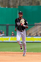 Lansing Lugnuts outfielder Reggie Pruitt (5) jogs in from the outfield between innings during a Midwest League game against the Wisconsin Timber Rattlers on May 8, 2018 at Fox Cities Stadium in Appleton, Wisconsin. Lansing defeated Wisconsin 11-4. (Brad Krause/Four Seam Images)
