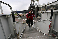 Wednesday 28 August 2013<br /> Pictured: Michael Laudrup boarding the team aeroplane at Cardiff Airport.<br /> Re: Swansea City FC players and staff en route for their UEFA Europa League, play off round, 2nd leg, against Petrolul Ploiesti in Romania.
