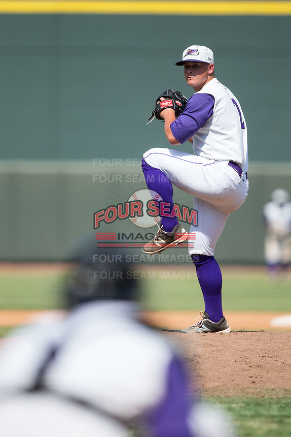 Winston-Salem Dash relief pitcher Matt Foster (2) in action against the Potomac Nationals at BB&T Ballpark on August 6, 2017 in Winston-Salem, North Carolina.  The Nationals defeated the Dash 4-3 in 10 innings.  (Brian Westerholt/Four Seam Images)