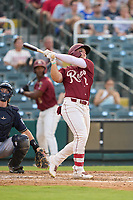 Frisco RoughRiders Steele Walker (2) hits a home run during a game against the San Antonio Missions on June 25, 2021 at Dr. Pepper Ballpark in Frisco, Texas.  (Ken Murphy/Four Seam Images)