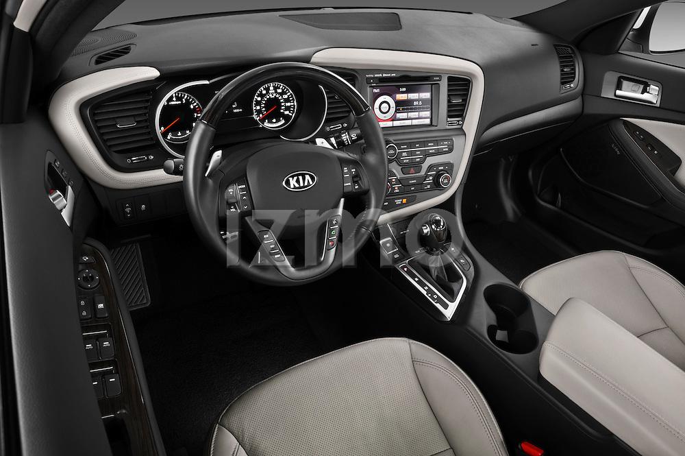 High angle dashboard view of a 2013 Kia Optima SXL