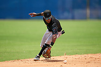 GCL Marlins shortstop Nasim Nunez (1) fields a ground ball during a Gulf Coast League game against the GCL Mets on August 11, 2019 at St. Lucie Sports Complex in St. Lucie, Florida.  The Marlins defeated the Mets 3-2 in the second game of a doubleheader.  (Mike Janes/Four Seam Images)