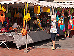 The historic city of Montpellier Languedoc-Roussillon region of France. A market stall in Place de la Comédie à Montpellier.