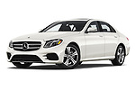 Stock pictures of low aggressive front three quarter view of a 2019 Mercedes Benz E-class 300 4 Door Sedan