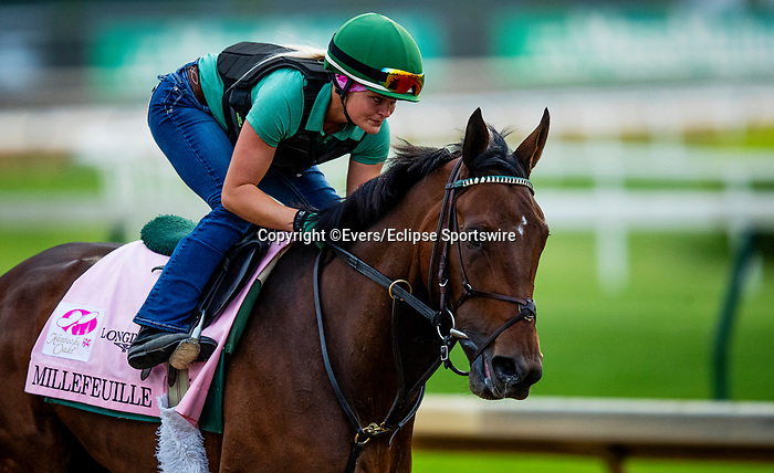 April 28, 2021: Millefeuille gallops in preparation for the Kentucky Oaks at Churchill Downs in Louisville, Kentucky on April 28, 2021. EversEclipse Sportswire/CSM