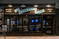 """The Painted Burro restaurant is temporarily closed in hibernation due to the ongoing Coronavirus (COVID-19) global pandemic in Davis Square in Somerville, Massachusetts, on Tue., Jan. 26, 2021. A Dec. 2020 announcement from the Alpine Restaurant Group, which also owns nearby Rosebud, states """"We aren't calling this a hibernation because that feels cute & natural and this is anything but that. We need aid & relief from our city & government that we just aren't getting right now."""""""