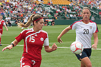 Canada's Kara Lang (15) and USWNT's Abby Wambach (20) pursue the ball. The U.S. Women's National Team defeated Canada 1-0 in a friendly match at Marina Auto Stadium in Rochester, NY on July 19, 2009. Abby Wambach of the USWNT scored her 100th career goal in the second half..