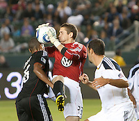 CARSON, CA – SEPTEMBER 18:  DC United goalie Troy Perkins (23) during a soccer match at Home Depot Center, September 18, 2010 in Carson California. Final score LA Galaxy 2, DC United 1.