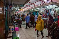 Yogyakarta, Java, Indonesia.  Fabric and Textile Stalls, Beringharjo Market.