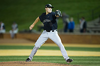 Wake Forest Demon Deacons relief pitcher Colin Peluse (8) in action against the West Virginia Mountaineers in Game Six of the Winston-Salem Regional in the 2017 College World Series at David F. Couch Ballpark on June 4, 2017 in Winston-Salem, North Carolina.  The Demon Deacons defeated the Mountaineers 12-8.  (Brian Westerholt/Four Seam Images)