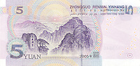 Five RMB banknotes..