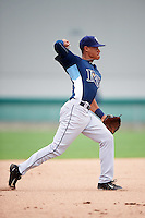 GCL Rays shortstop Kevin Santiago (4) throws to first during the second game of a doubleheader against the GCL Red Sox on August 9, 2016 at JetBlue Park in Fort Myers, Florida.  GCL Rays defeated GCL Red Sox 9-1.  (Mike Janes/Four Seam Images)