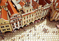 View looking down over the Prague Old Town Square and architecture. Prague, Cxech Republic.