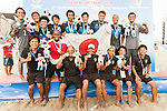 Japan Team celebrates after winning the Beach Soccer Men's Team Gold Medal Match between Japan and Oman on Day Nine of the 5th Asian Beach Games 2016 at Bien Dong Park on 02 October 2016, in Danang, Vietnam. Photo by Marcio Machado / Power Sport Images