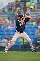 Chad McClanahan (3) of the Helena Brewers at bat against the Great Falls Voyagers at Centene Stadium on August 18, 2017 in Helena, Montana.  The Voyagers defeated the Brewers 10-7.  (Brian Westerholt/Four Seam Images)