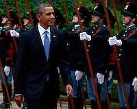 Il Presidente degli Stati Uniti Barack Obama a Villa Madama, Roma, 27 marzo 2014.<br /> U.S President Barack Obama reviews the honor guard at Villa Madama, Rome, 27 March 2014.<br /> UPDATE IMAGES PRESS/Isabella Bonotto