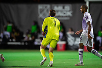 LAKE BUENA VISTA, FL - AUGUST 06: Tyler Miller #1 of Minnesota United FC catches the ball during a game between Orlando City SC and Minnesota United FC at ESPN Wide World of Sports on August 06, 2020 in Lake Buena Vista, Florida.