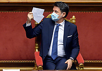 The Italian Premier Giuseppe Conte having a coffee during the information at the Senate about the government crisis.<br /> Rome(Italy), January 19th 2021<br /> Photo Pool Stefano Carofei/Insidefoto