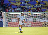 CARSON, CA - FEBRUARY 1: Walker Zimmerman #5 of the United States looking for an open teammate with Kobe Bryant tribute behind during a game between Costa Rica and USMNT at Dignity Health Sports Park on February 1, 2020 in Carson, California.