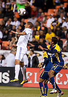 Karim Benzema heads the ball. Real Madrid defeated Club America 3-2 at Candlestick Park in San Francisco, California on August 4th, 2010.