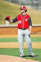 Blake Aquadro (28) of the Youngstown State Penguins prior to the game against the Wake Forest Demon Deacons at Wake Forest Baseball Park on February 24, 2013 in Winston-Salem, North Carolina.  The Demon Deacons defeated the Penguins 6-5.  (Brian Westerholt/Four Seam Images)