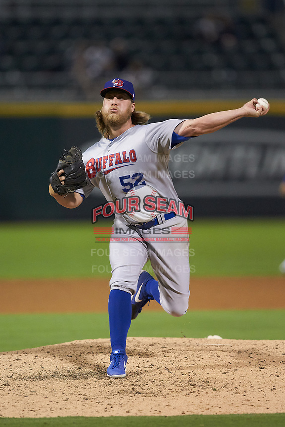Buffalo Bisons relief pitcher Kirby Snead (52) in action against the Caballeros de Charlotte at BB&T BallPark on July 23, 2019 in Charlotte, North Carolina. The Bisons defeated the Caballeros 8-1. (Brian Westerholt/Four Seam Images)