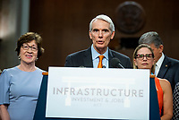 United States Senator Rob Portman (Republican of Ohio) makes remarks after the vote on the motion to invoke cloture to proceed to the consideration of H.R. 3684, the INVEST in America Act on Capitol Hill in Washington, DC on Wednesday, July 28, 2021. The vote to begin discussion of the bipartisan infrastructure bill agreed to by the White House, was 67 to 32. If passed, the bill would invest close to $1 trillion in roads, bridges, ports and other infrastructure without a major tax increase.<br /> Credit: Rod Lamkey / CNP / MediaPunch