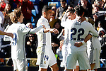 Real Madrid's Luka Modric, Carlos Henrique Casemiro and Cristiano Ronaldo celebrate goal during La Liga match. January 7,2016. (ALTERPHOTOS/Acero)
