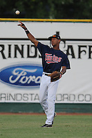 Elizabethton Twins center fielder Byron Buxton #41 throws the ball in after making a catch during a game against the Greenville Astros at Joe O'Brien Field on August 21, 2012 in Elizabethton, Tennessee. The Twins  defeated the Astros 7-5 (Tony Farlow/Four Seam Images).