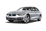 Stock pictures of low aggressive front three quarter view of 2018 BMW 3-Series 330e-iPerformance 4 Door Sedan Low Aggressive