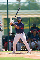 FCL Red Sox Jose Garcia (37) bats during a game against the FCL Pirates Gold on August 2, 2021 at Pirate City in Bradenton, Florida.  (Mike Janes/Four Seam Images)