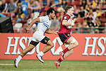 Lloyd Evens of Wales runs with the ball while Tila Mealoi of Samoa is in pursuit during the match Wales vs Samoa, Day 2 of the HSBC Singapore Rugby Sevens as part of the World Rugby HSBC World Rugby Sevens Series 2016-17 at the National Stadium on 16 April 2017 in Singapore. Photo by Victor Fraile / Power Sport Images