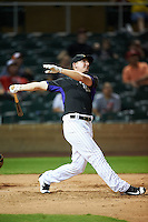 Salt River Rafters Ryan McMahon (25), of the Colorado Rockies organization, watches the ball during the Bowman Hitting Challenge on October 8, 2016 at the Salt River Fields at Talking Stick in Scottsdale, Arizona.  McMahon placed first for the National League.  (Mike Janes/Four Seam Images)