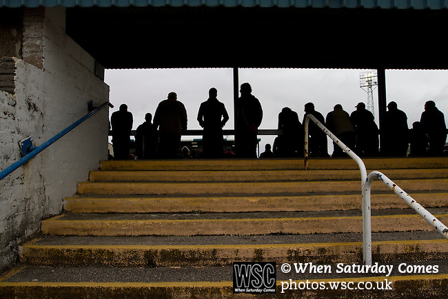 Barrow AFC 0 Newport County 3, 15/09/2012. Furness Building Society Stadium, Football Conference. Home supporters watching the action from the Popular Side at Barrow AFC's Furness Building Society Stadium during the Barrow (white shirts) v Newport County Conference National Fixture. Newport County eventually won the match by 3-0, watched by 802 spectators. Both Barrow and Newport County from Wales were former members of the Football League in England. Photo by Colin McPherson.