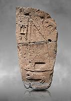 Hittite monumental relief sculpture fragment. Late Hittite Period - 900-700 BC. Adana Archaeology Museum, Turkey. Against a grey art background