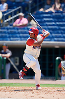 Clearwater Threshers designated hitter Wilson Garcia (10) at bat during a game against the Jupiter Hammerheads on April 11, 2018 at Spectrum Field in Clearwater, Florida.  Jupiter defeated Clearwater 6-4.  (Mike Janes/Four Seam Images)